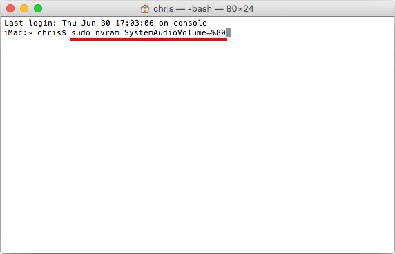 Sudo nvram systemaudiovolume 80 - Mac ta bort startljud