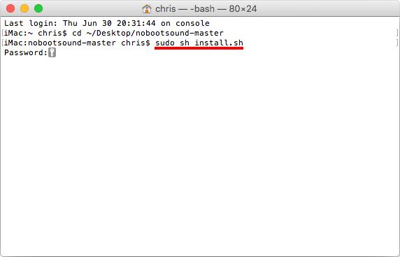 Sudo sh install sh - Ta bort startljud på Mac