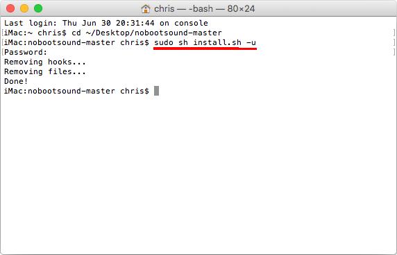 Sudo sh install sh u - Avinstallera scriptet