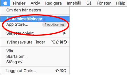Uppdatera - MacBook efter återställning - OminstallationUppdatera - MacBook efter återställning - Ominstallation