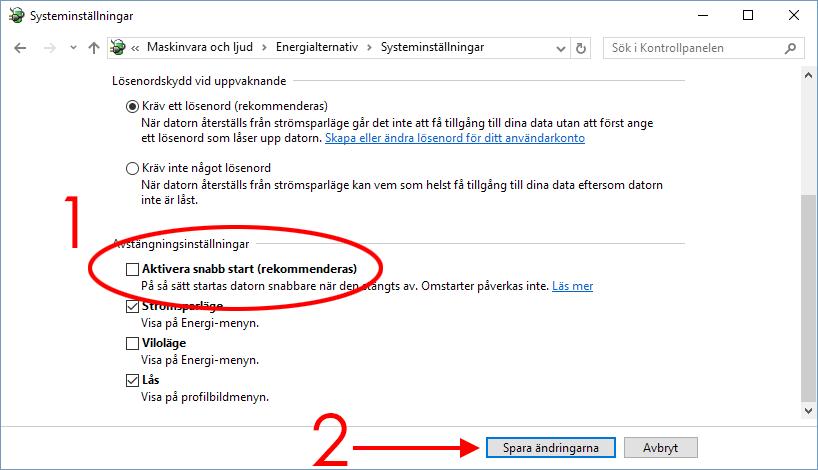 Windows 10 - Aktivera Snabb start - Mus och tangentbord fungerar inte