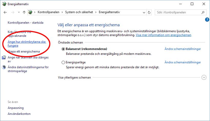 Windows 10 - Ange hur strömbrytarna ska fungera