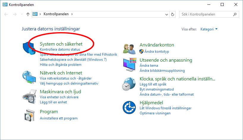 Windows 10 - Kontrollpanelen - System och säkerhet