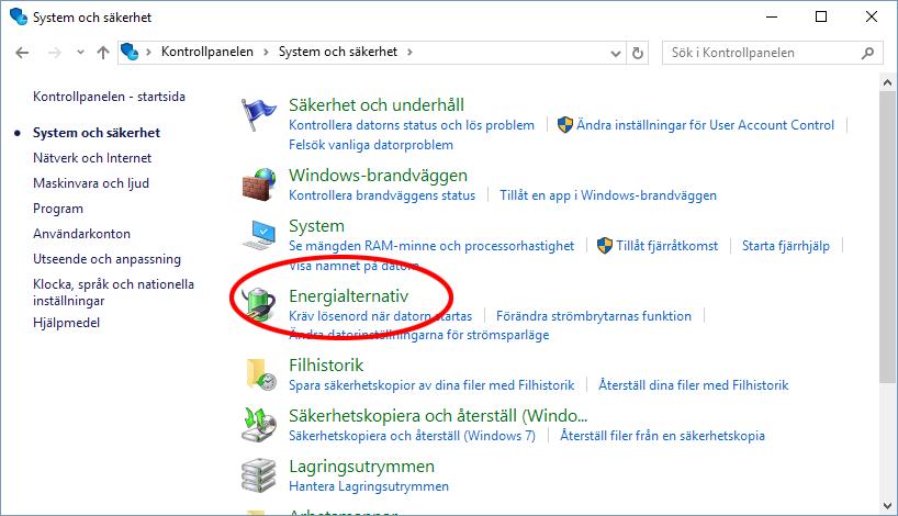 Windows 10 - System och säkerhet - Energialternativ