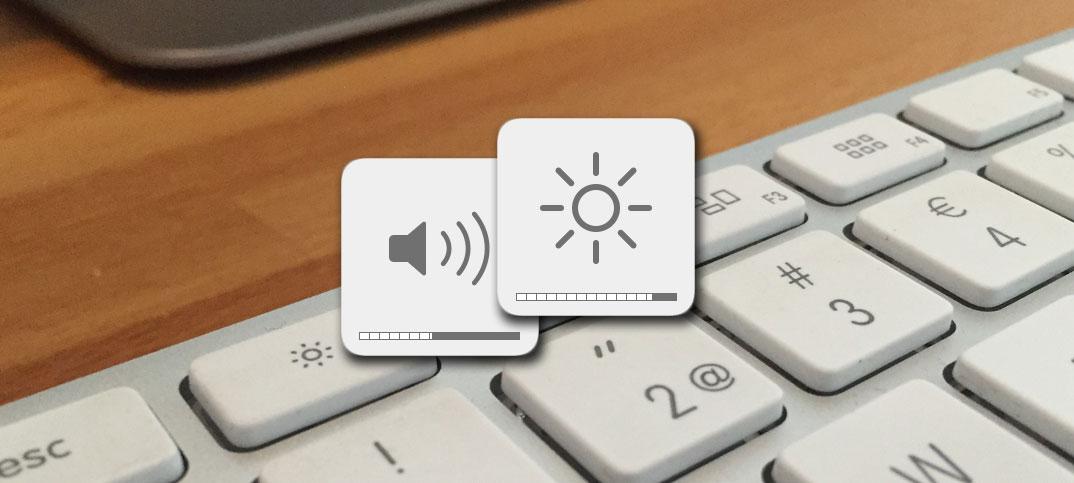 Ändra ljudvolym och skärmljusstyrka på Mac i flera mindre steg