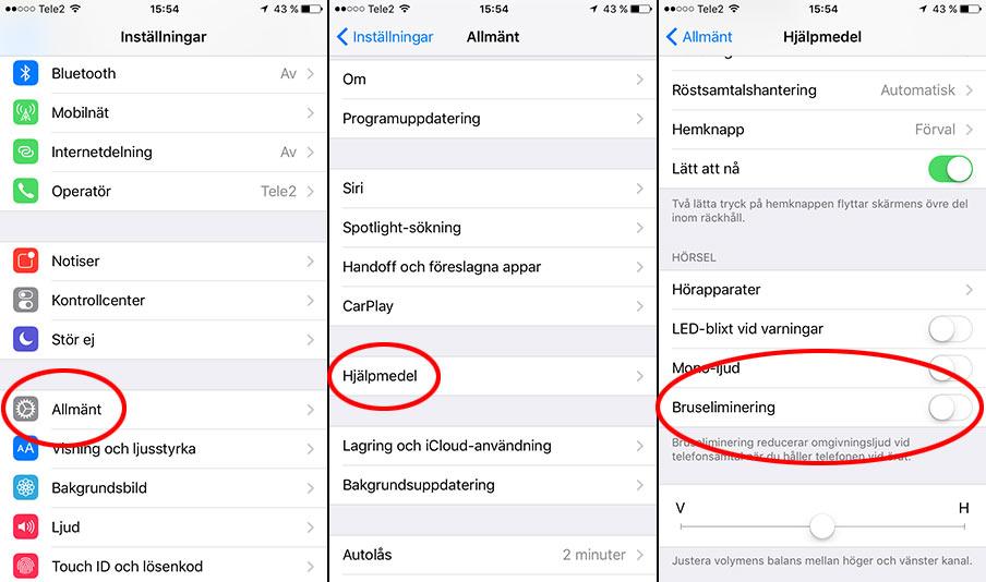 iPhone - Allmänt- Hjälpmedel - Bruseliminering
