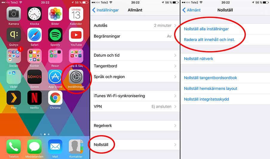 iPhone - Återställ alla inställningar - Nollställ - Radera