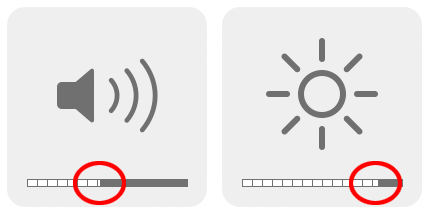Mac - Ljudvolym - Skärm - Ljusstyrka - Flera, mindre steg