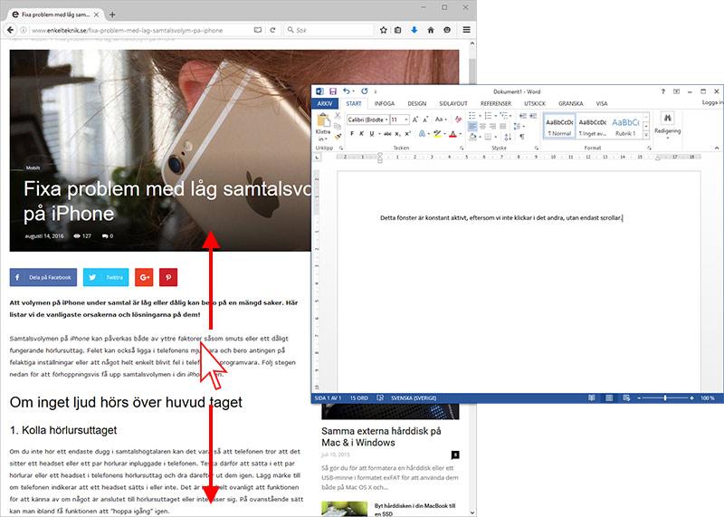 Scrolla i ett fönster som inte är aktivt - Windows 10