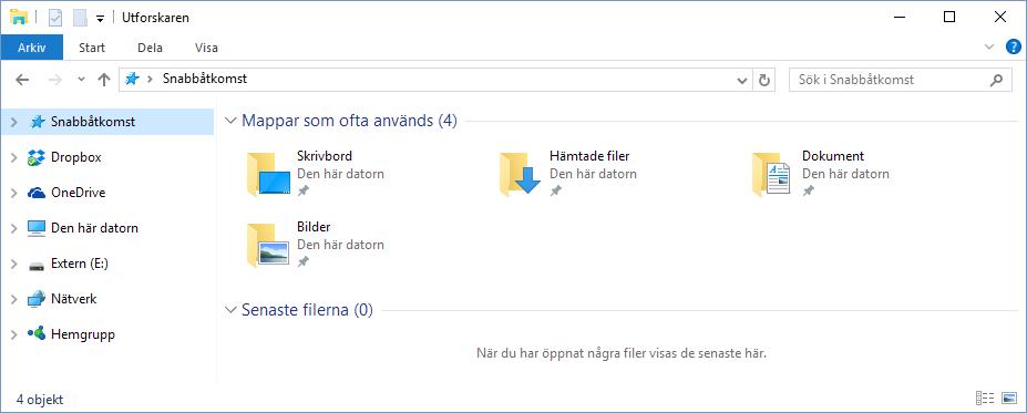 Windows 10 - Snabbåtkomst - Rensa - Töm