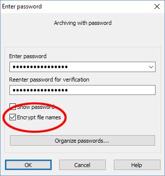 WinRAR - Encrypt file names - Kryptera filnamn - Lösenord