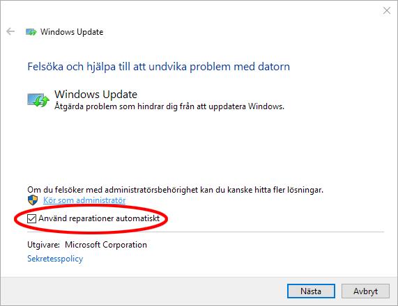 Använd reparationer automatiskt - Kör som administratör - Windows 10