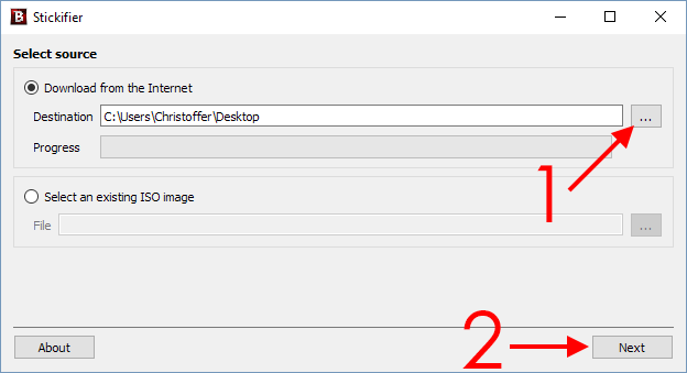 Bitdefender - Stickifier - Download from Internet - Next - Skapa USB