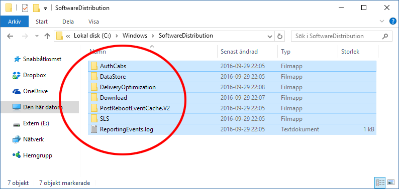 C - Windows - SoftwareDistribution - Ta bort alla filer och mappar