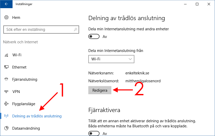 Delning av trådlös anslutning - Windows 10 - Wi-Fi