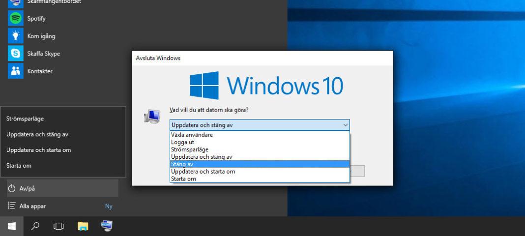 Stäng av Windows utan att installera uppdateringar
