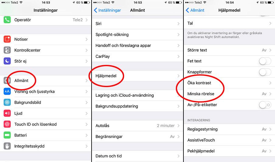 iPhone - Allmänt - Hjälpmedel - Öka kontrast - Minska rörelse