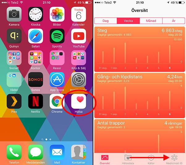 iPhone - Hälsa - Medicinskt ID - Lägg till