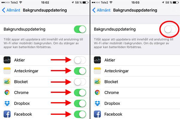 iPhone - iPad - Stäng av bakgrundsuppdatering av appar