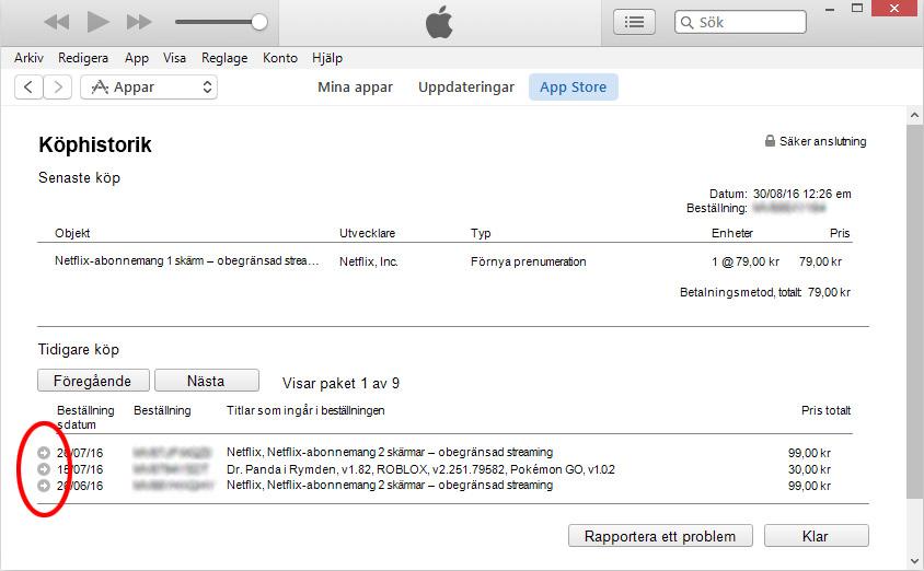 iTunes - Köphistorik - Senaste appar - Visa detaljer