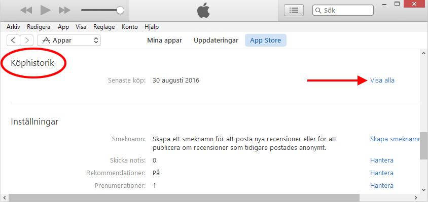 iTunes - Köphistorik - Visa alla