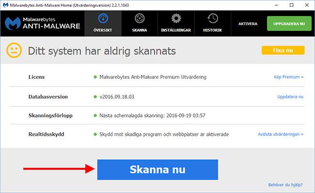 Malwarbytes Anti Malware - Skanna nu