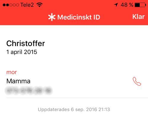 Medicinskt ID - iPhone - Låst telefon - Låsskärm