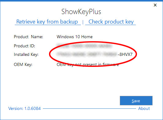 ShowKeyPlus - Windows 10 - Produktnyckel - Serienummer - Hitta - Se