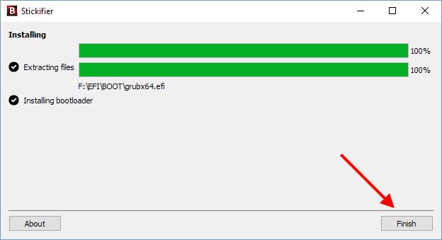 Stickifier - Finish - Skapat startbart USB-minne - Scanna virus
