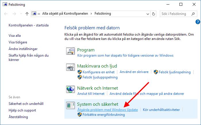 System och säkerhet - Åtgärda problem med Windows Update