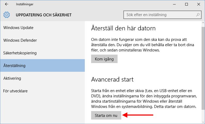 Windows 10 - Avancerad start - Starta om nu