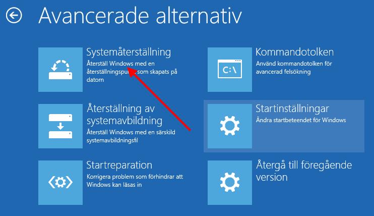 Windows 10 - Avancerade alternativ - Systemåterställning