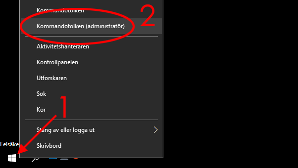 Windows 10 - Felsäkert läge - Kommandotolken- CMD - Administratör
