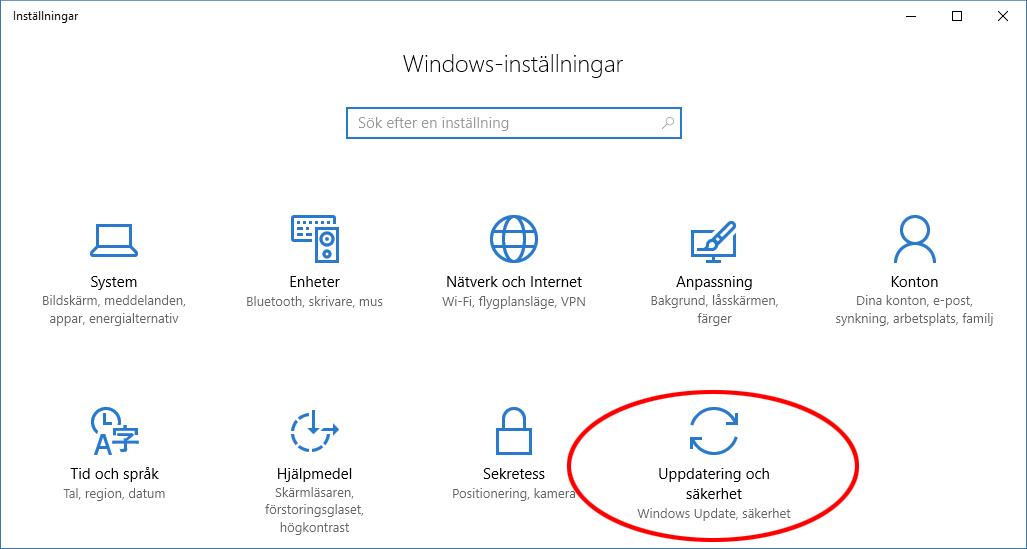 Windows 10 - Installningar - Uppdatering och säkerhet - Anniversary Update