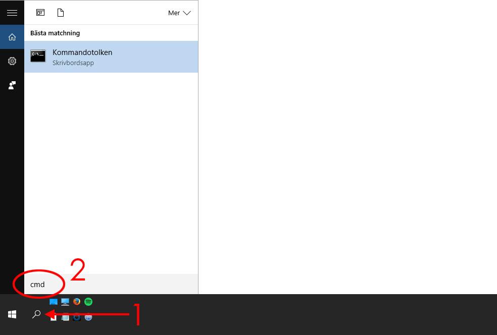 Windows 10 - Start-menyn - Sök - CMD - Kommandotolken - Stäng av
