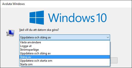 Windows - Avstängningsfönster - Dialogfönster - Stäng av