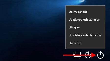 Windows - Login-skärm - Stäng av utan att installera uppdateringar