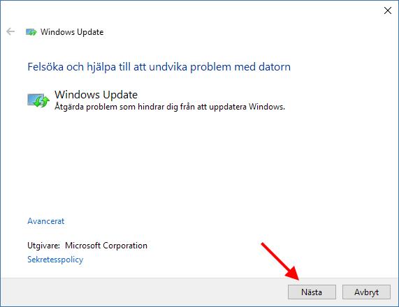 Windows Update - Åtgärda problem - Nästa