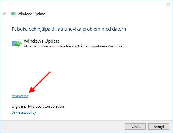 Windows Update - Felsök - Avancerat