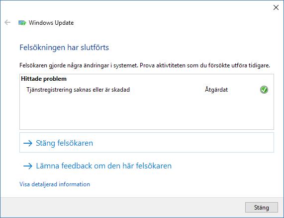 Windows Update - Felsökningen har slutförts