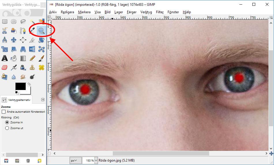 GIMP - Zooma in - Ta bort röda ögon - Gratis