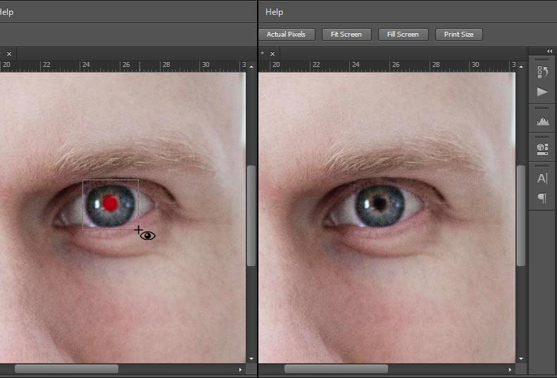 Photoshop - Röda ögon - Ta bort - Markera ena ögat