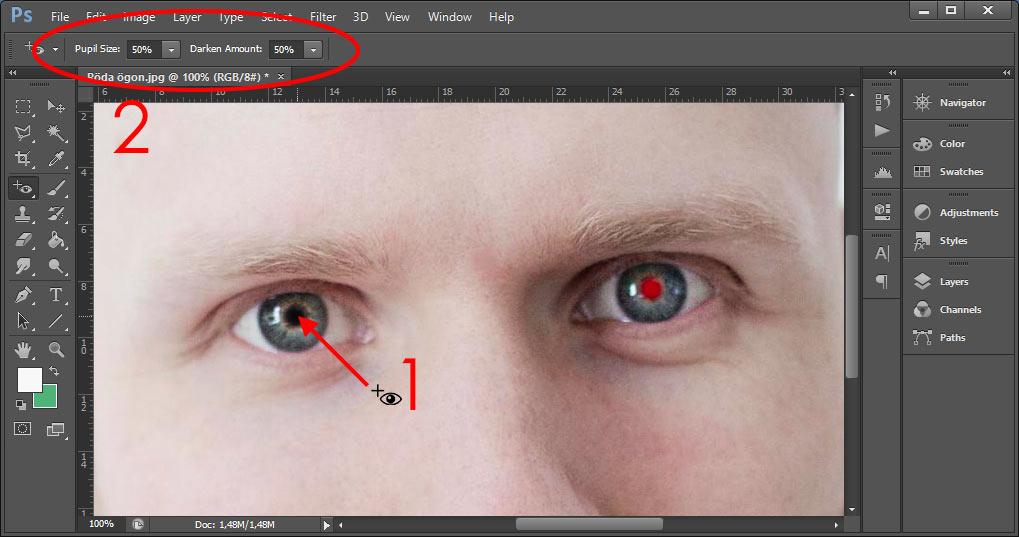Photoshop - Ta bort röda ögon-verktyget - Inställningar