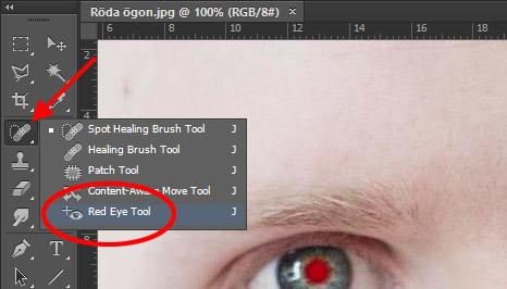 Punktlagningspensel - Ta bort röda ögon - Photoshop