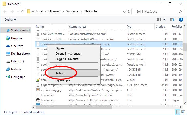 Ta bort Cookies - Internet Explorer - Radera enskild Cookie