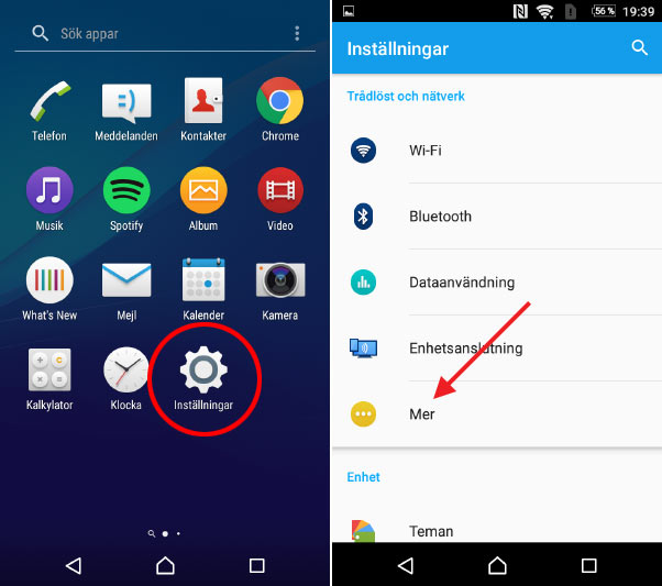 Android - Dela ut WiFi - Inställningar - Mer