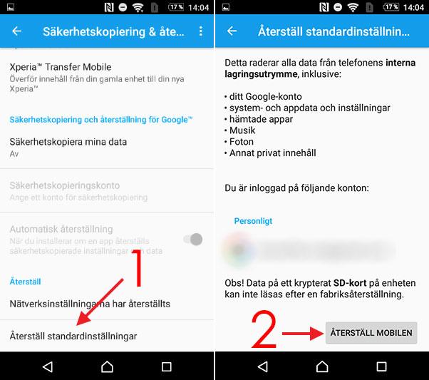 Android laddar inte - Återställ - Standardinställningar - Fabriksåterställ