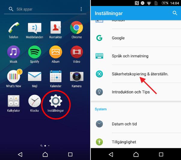 Android-telefon laddar inte - Inställningar - Återställning - Fabriksåterställ