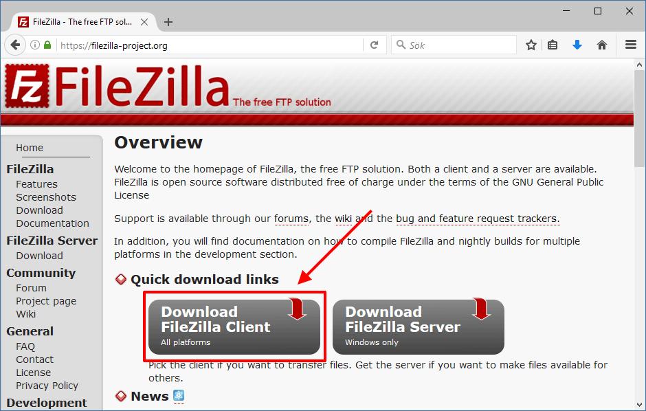 Hämta FileZilla - Raspberry Pi - Föra över filer