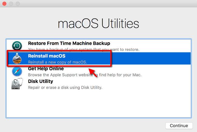 macOS - Verktygsprogram - Installera om macOS - OS X